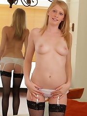 Nubiles.net Allie James - Irresistible Allie James strips her sexy lingerie and flaunts her moist pussy