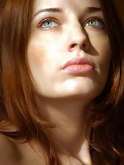 Confident redhead with pale complexion, pink puffy nipples and inviting aura.