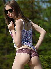 Babes pale skin is seeing some much-needed sunlight